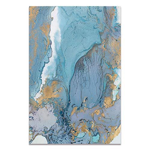 U/N Cuadro sobre Lienzo para Pared imágenes abstractas Carteles e Impresiones artísticos en Lienzo Azul y Blanco decoración Moderna para la Sala de Estar del hogar-5