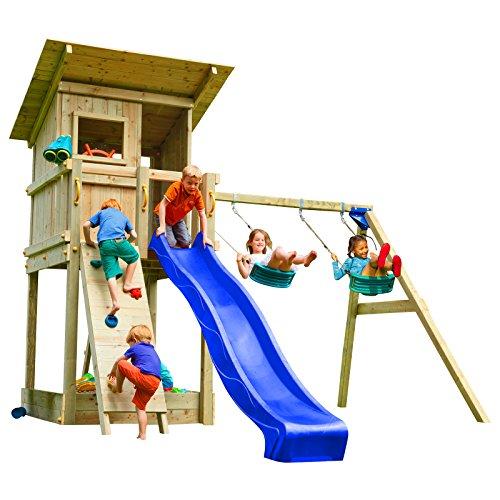 Blue Rabbit 2.0 Spielturm BEACH HUT mit Rutsche 2,30 m oder 2,90 m inkl. Wasseranschluss, Kletterwand mit Klettersteinen, Doppelschaukel - Kletterturm, Stelzenhaus