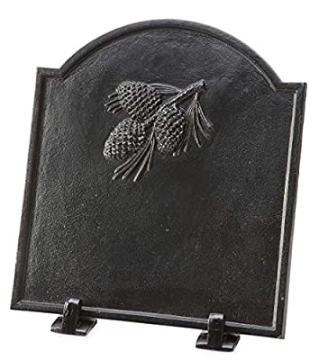 Wind & Weather 66A88 Cast Iron Fireback with Pine Cone Design, Black by Plow & Hearth