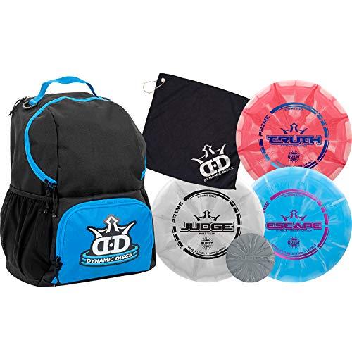 Dynamic Discs Disc Golf Starter Set | Blue/Black Cadet Disc Golf Bag Included | 17+ Disc Capacity | Prime Burst Disc Golf Frisbee Set Included | Putter, Midrange, Driver | 170g plus | Colors will vary