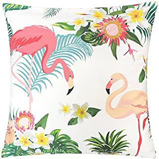 Homey Cozy Outdoor Accent Pillow Cover,Flamingo Paradise Large Water/UV/Stain-Resistance Tropical Decorative Replacement Cushion Cover 20x20, Cover Only
