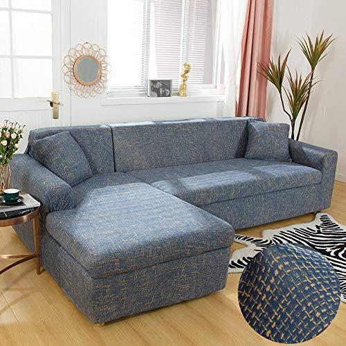 Fundas de sofá en Forma de L para Sala de Estar Material elástico sofá de Esquina Funda de Silla Funda de sofá sofá seccional A11 de 3 plazas