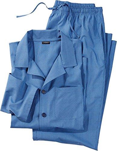Golden Lutz - Herren Web Pyjama, lang (Mittelblau - Navy gestreift, Gr. XL) | LIVERGY