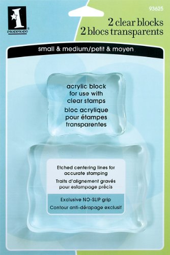 Inkadinkado Acrylic Mounting Blocks for Clear Stamps, 2pc, 3.7'' W x 2.7'' L and 2.4'' W x 2'' L