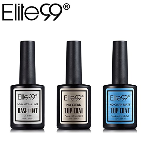 Elite99 Top coat y Base Coat Semipermanente Top Coat Mate Esmalte Semipermanente UV LED 3pcs Kit Uñas de Gel Pintauñas Esmalte de Uñas Soakoff Manicura 15ml