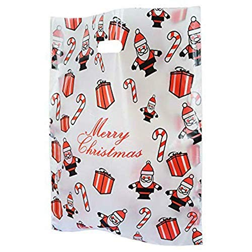 We Can Source It – Große biologisch abbaubare Plastiktüten für Weihnachten, Weihnachtsmann, Geschenk-Shop, 100 Beutel