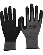 NITRAS Nylotex 3520 Nylon-Latexhandschuhe Arbeitshandschuhe 12 PAAR, Grau/Schwarz, 9/XL