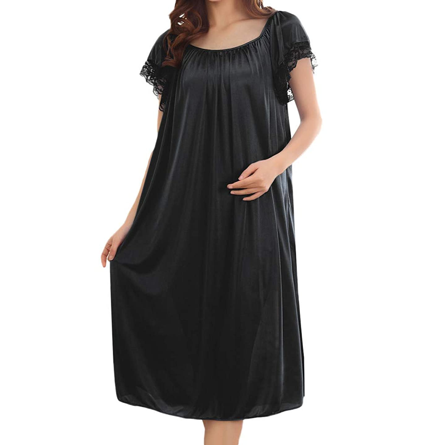 2019 Summer Women Home Lace Ice Silk Short Sleeve Loose Plus Oversize Nightgown Dress