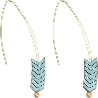 Mecool Retro Arrow Colgar los pendientes Curved Threader Colgar los pendientes Drop Hoop Bar Arrow Earrings