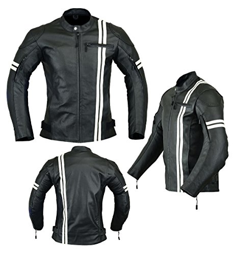 """Jaqueta masculina de couro de alta proteção com proteção de motocicleta (grão total) preta e branca LJ-3024Leather Teknik XXL [Chest 50""""/127cm] 3024"""