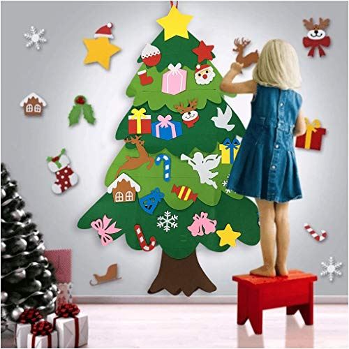 Wenjuan DIY Felts Christmas Tree with Ornaments for Kids Xmas Gifts Door Wall Hanging Decor
