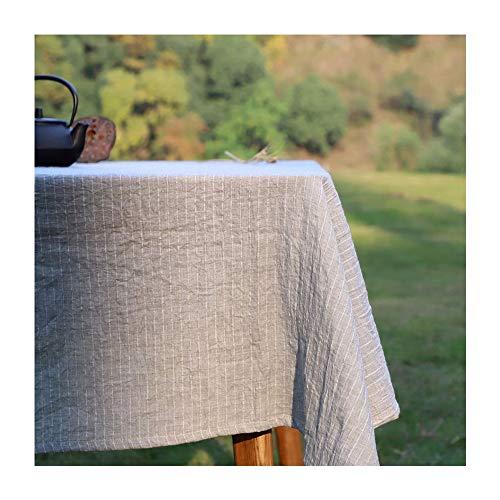 Linge de coton classique - Nappe en lin pur, style minimaliste, rayures anti-brûlantes, housse de table basse, cuisine, salle à manger, nappe décorative (couleur: rayures grises)