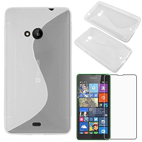 ebestStar - kompatibel mit Microsoft Lumia 535 Nokia Hülle TPU S-line Style Silikongel Handyhülle, Schutzhülle Case Cover, Transparent + Panzerglas Schutzfolie [Phone: 140.2x72.4x8.8mm, 5.0'']
