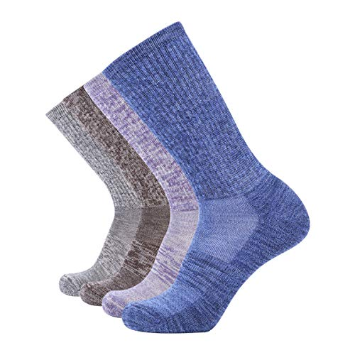 EnerWear 4 Pack Women's Merino Wool Outdoor Hiking Trail Crew Sock (US Shoe Size 4-10, Light Grey/Blue/Multi)