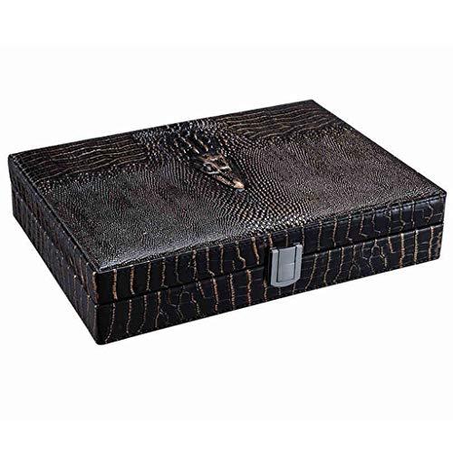 Humidore Bar-Accessoires Cigar Kabinett for Outdoor-Geschäftsreisen Cedar Moisture Box Aussehen Leder-Material Handgemachte Fertigkeiten Geschenk-Paket (Color : Black, Size : 27.8 * 20.4 * 5.8cm)
