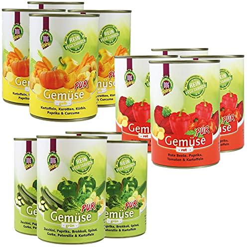 Schecker DOGREFORM Gemüse pur 4 x 3 grün rot,gelb - Ideal zum BARFen - als Diätfutter für Hunde - 100% hochwertiges Gemüse