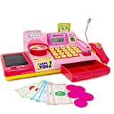 Boley Pink Toy Cash Register Playset - 19pc Kids Play Cash Register with Scanner and Credit Card Reader