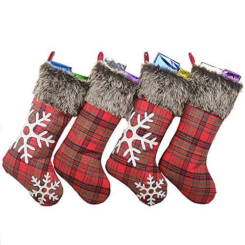 AIYoo Weihnachtsstrümpfe 47.5cm Gestrickte Wolle 4er Set Nikolausstiefel und Weihnachtssocken zum Befüllen und Aufhängen Lieber Weihnachtsmann Thema - Rot MEHRWEG Verpackung