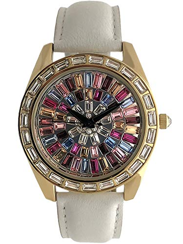 Peugeot Women Kaleidoscope Watch with Crystal Bezel & White Leather Strap Band