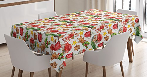Ambesonne Christmas Tablecloth, Old Retro Vintage Watercolor Cookies Candy Cones Gingerbread Stars Pines Artwork, Rectangular Table Cover for Dining Room Kitchen Decor, 60' X 90', Watercolor Rainbow