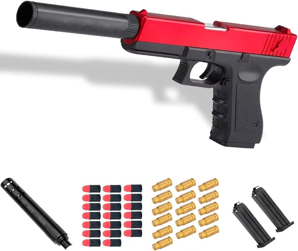 Glock Shell Ejection Soft Bullet Toy Gun with 16 Bullet Case,20 Soft Bullet,2 Magazine,1 Silencer,1: 1 Size Boys Toy Guns with Silencer