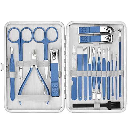 Nail Clippers Manicure Set Pedicure Kit, EIVOTOR 19pcs Professional Nail Care Kit with Facial Care Tools, Stainless Steel Grooming Tools with Blue PU Leather Case for Travel & Home Men Women