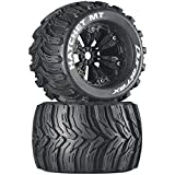 Duratrax Hatchet MT 3.8' RC Monster Truck Tires with Foam Inserts, CS Sport Compound, Mounted on 1/2' Offset Black Wheels (Set of 2)
