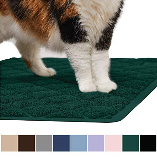 Gorilla Grip Original Premium Durable Cat Litter Mat, XL Jumbo, No Phthalate, Water Resistant, Traps Litter from Cat Box Scatter Control, Soft on Kitty Paws, Easy Clean Mats, Corner, Hunter Green