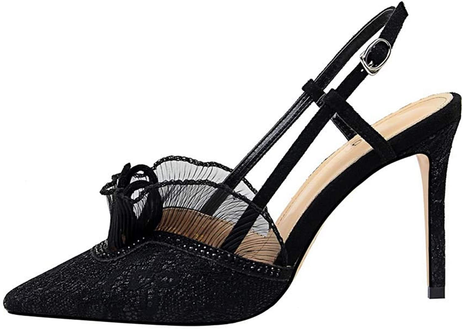 Women's Classic Breathable Jacquard Sandals, Pointed Toe Stiletto Party Evening High Heel Dress Sandals Pumps