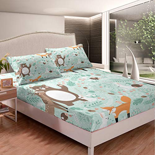 Kids Cute Fox Beer Bed Sheets Tropical Leaves Floral Branches Design Bed Sheet Set for Boys Girls Cartoon Rabbit Bedding Set Botanical Animals Fitted Sheet Room Decor 3Pcs Queen Size,Zipper
