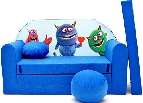 Bleu avec Pouf 168/x 98/x 60/cm Pro Cosmo Canap/é-lit B5 Repose-Pieds et Oreiller en Tissu pour Enfants