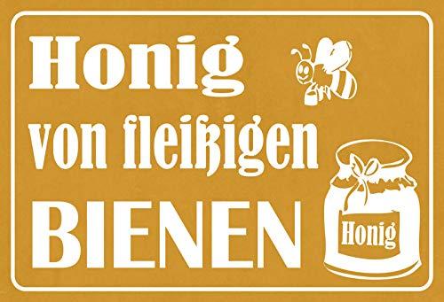 Blechschild - Imker Honig von fleißigen Bienen Metallschild 20x30 Deko tin sign