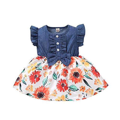 Vestido de Princesa Nia Impresin de Girasol Mezclilla con Volantes Sin Mangas Ropa para Bebs Recin Nacidos Vestidos para Nias (Rojo, 12-18 Meses)