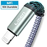 (6ft/1.88m) LISEN iPhone Charger Cable,[ MFi Certified ][ Never Rupture ] Lightning to USB-A Cable,2.4A Fast Charging Cord Compatible with iPhone Xs Max XR XS X 8 7 6S 6 Plus 5 5S iPad Pro Air2