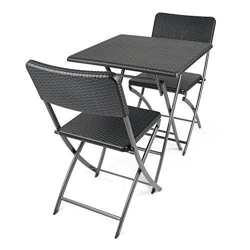 CHRISTOW Poly Rattan Folding Bistro Table and 2 Chairs Set Garden Patio Camping Outdoor