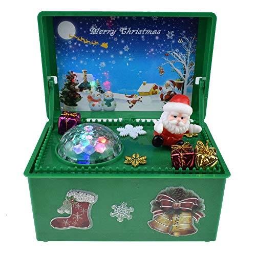 Carillon Di Babbo Natale, Carillon Di Natale Allegro Con Luci Giocattolo Musicale Elettrico Regalo Di Natale Per Bambini,Verde