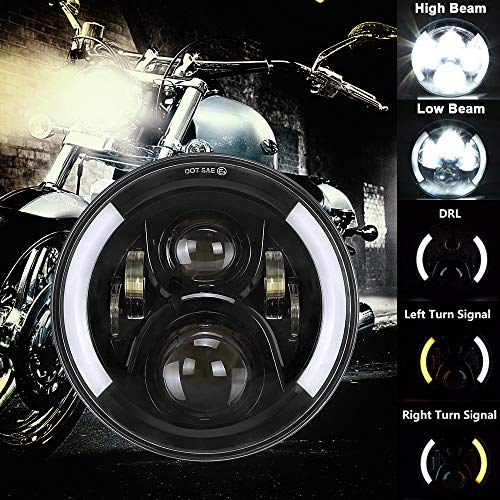 7 Inch LED Motorcycle Headlight DOT Approved Halo LED Round Headlight Motorcycle Angle Eyes with White DRL & Amber Turn Signal for Road King Ultra Classic Electra Street Glide