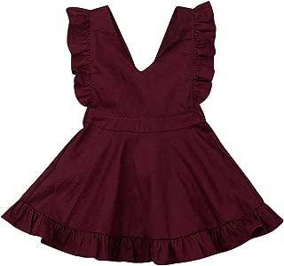 Toddler Infant Baby Girls Ruffle Sleeveless Dresses Casual Strap Sundress Summer Skirtfor 6Mos-5T