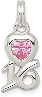 925 Sterling Silver Pink Cubic Zirconia Cz Sixteen Pendant Charm Necklace Fine Jewelry For Women