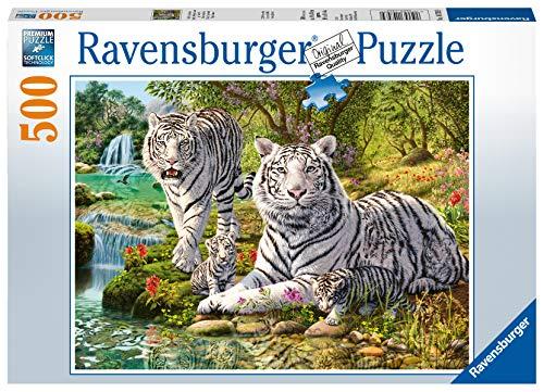 Ravensburger- Puzzle 500 pièces Famille de Tigres Blancs Adulte, 4005556147939, Néant