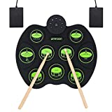 ammoon Roll Up Drum Kit, Portable Electronic Drum Set 9 Drum Practice Pads with Headphone Jack 2 Foot Pedals for Kids...
