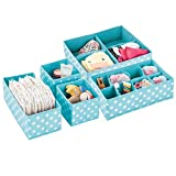 mDesign Juego de 5 cajas de ordenación para ropa, cosas para niños y más – Organizadores de cajones infantiles de tela – Cestas organizadoras con 15 compartimentos – turquesa y blanco