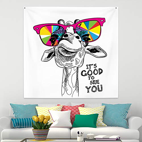 Leowefowa Cool Giraffe Wear Colorful Sunglass Tapestry Cute Animal Wall Hanging Baby Kids Room Decor Hippie Wall Blanket 29.5x29.5inch Wall Tapestry Living Room Bedroom Dorm Decor Gift for Kids