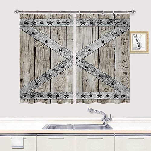 Country Curtains for Kitchen Window Drapes Treatment, Rustic Barn Star on Wooden Door Kitchen Curtains, Western Texas Star Primitive Country Wooden Fabric Kitchen Drapes 10PCS Hooks Included 55X39 in
