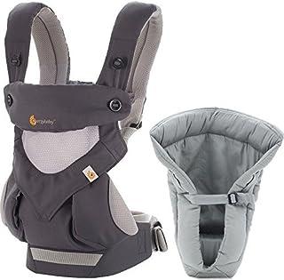 Ergobaby 套装 - 2 件产品:冷碳灰色所有便携位置 360 婴儿背带和婴儿枕芯灰色