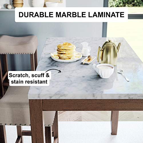 Nathan James Viktor 3 Piece Set, Heigh Kitchen Counter Pub Dining or Breakfast Table with Marble Top and Fabric Wood Base Seat, Beige/Light Brown