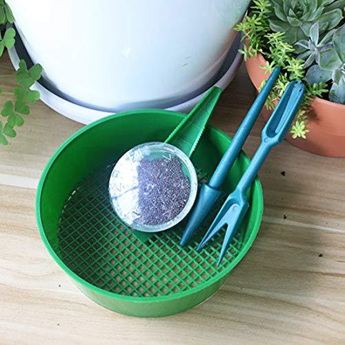 JSHYU Gartenwerkzeuge Horticultural Pflanzen Säen DREI Sätze von Boden Sieve Werkzeuge mit Einer Hebevorrichtung, Stanzvorrichtung, Samen Sowers, Mesh-Sieb Gartengeräte