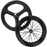 Wilee Bike Front 3 Spoke Rear 88mm Tri Spoke Carbon Wheelset Fixed Bike Wheels
