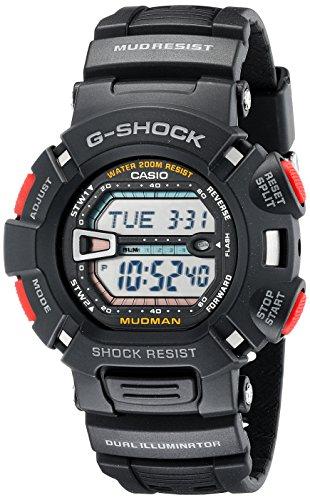 Casio G9000-1V Armbanduhr (Armband aus Kunstharz, Edelstahl, Schwarz, Harz, Schwarz, Mineralglas, Schwarz