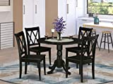 5Pc Round 42' Dining Room Table With Two 9-Inch Drop Leaves And Four Wood Seat Chairs